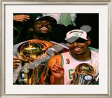 Kevin Garnett & Paul Pierce, Game Six of the 2008 NBA Finals With Trophies Framed Photographic Print