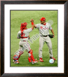Brad Lidge & Carlos Ruiz Game one of the 2008 MLB World Series Framed Photographic Print