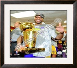 Lamar Odom Game Five of the 2009 NBA Finals With Championship Trophy Framed Photographic Print