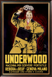 Underwood Typewriter Framed Giclee Print by Achille Luciano Mauzan