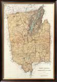 New York: Warren, Saratoga, Washington Counties, c.1895 Framed Giclee Print by Joseph Rudolf Bien