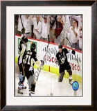 Sidney Crosby, Evgeni Malkin, & Marian Hossa Celebrate Crosby's 2nd Goal Game 3 Stanley Cup Finals; Framed Photographic Print