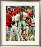 The Philadelphia Phillies 2008 Game 4 Celebration Framed Photographic Print