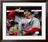 Cole Hamels w/2008 World Series MVP trophy Framed Photographic Print