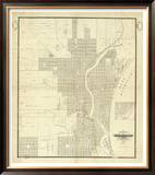 Map of Milwaukee, c.1856 Framed Giclee Print by I. A. Lapham