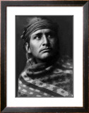 Young Brave Framed Giclee Print by Edward S. Curtis