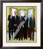 G.W. Bush w/President-elect Barack Obama & Presidents Clinton, Carter, & Bush Sr. in Oval Office. Framed Photographic Print