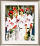 Jimmy Rollins, Chase Utley, & Ryan Howard 2008 NLCS Game 1 Celebration Framed Photographic Print