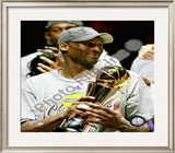 Kobe Bryant Game Five of the 2009 NBA Finals With MVP Trophy Framed Photographic Print