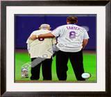 Yogi Berra & Gary Carter Final Game at Shea Stadium 2008 Framed Photographic Print