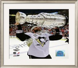 Maxime Talbot Game 7 - 2008-09 NHL Stanley Cup Finals With Stanley Cup Trophy Framed Photographic Print