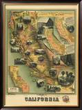 The Unique Map of California, c.1885 Framed Giclee Print by E. M. Johnstone