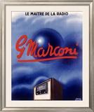 Marconi Tube Radio Set Framed Giclee Print