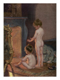 Two Naked Children Warm Themselves at the Fireside after their Bath Giclee Print
