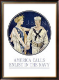 America Calls, Enlist in the Navy Framed Giclee Print by Joseph Christian Leyendecker