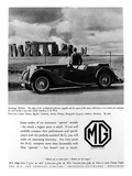 Advertisement for Mg Cars. Photograph of a Man and His Mg Car Looking at Stonehenge Photographic Print