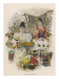 Two Pretty and Fashionable German Flower Girls Offer Ready-Made Bouquets from their Stall Giclee Print