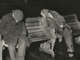 Vagrants Asleep on Bench on Thames Embankment, London Photographic Print by Peter Higginbotham