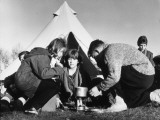 Time to Brew Up at a Winter Camp for Schoolchildren Photographic Print by Henry Grant