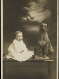 Baby and Pet Dog Photographic Print