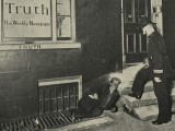 Vagrant and Policeman Outside 'Truth' Offices Photographic Print by Peter Higginbotham