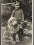 A Young Boy, Poses for His Photograph with His Pet Old English Sheepdog Papier Photo