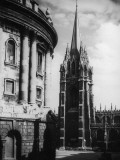 The Tower of St. Mary the Virgin Church and the Radcliffe Camera at Oxford, Oxon Photographic Print