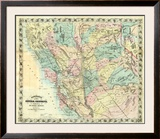 New Map of Central California, c.1871 Framed Giclee Print by A. L. Bancroft