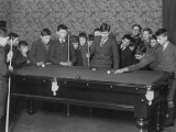 A Group of Seventeen Boys Cram around a Snooker Table During an Evening Game at a Boys Club Photographic Print