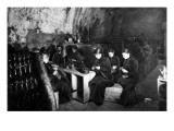 Women Knitting in a Wine-Cellar in a 'Much Bombarded' Rheims Giclee Print