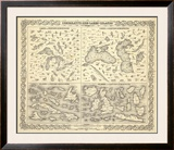 Comparative Size of Lakes and Islands, c.1856 Framed Giclee Print by G. W. Colton