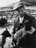 An Essex Shepherd with a Lovely Pair of Black-Faced Suffolk Lambs, England Photographic Print