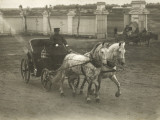 A Russian Two-Horse Open Carriage, with Elegant Dappled Horses and a Burly Coachman Photographic Print