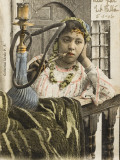 Algeria - Woman Smoking a Nargile (Hookah Pipe) Photographic Print