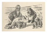 Walrus and Carpenter Address the Oysters Giclée-tryk
