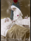 A Nurse with a Red Cross on Her Uniform Cares for a Wounded French Soldier Photographic Print