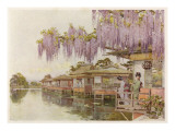 Yamata and Mizu: Two Geishas in an Idyllic Waterside Setting (Mizu Is Japanese for Water) Giclee Print