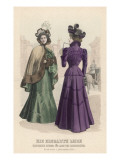 Two Elegant Ladies, One Wearing a Fur-Trimmed Cape Giclee Print by Philip Talmage