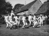 Morris Dancing Team Perform on a Well-Clipped Lawn, Giclee Print