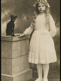 A Young Girl Dressed in Her Best White Dress, with Her Pet Dog, a Manchester Terrier Photographic Print