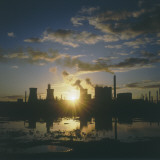 Sunset over an Oil Refinery Near Swansea, South Wales Photographic Print