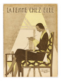 Woman Knitting 1929 Giclee Print