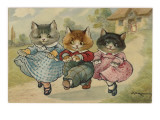 The Three Little Kittens Who Lost their Mittens' Dance Together Down a Country Lane Giclee Print