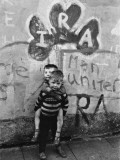 Two Dirty Boys Stand in Front of Ira Graffiti in Northern Ireland Photographic Print