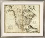 Map of North America, c.1796 Framed Giclee Print by John Reid