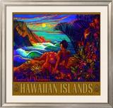 Hawaii Napali Kauai Coast Surf Poster Framed Giclee Print by Rick Sharp