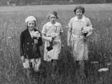 Three Girls with Flowers, Box Hill 1936 Photographic Print