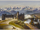 Swiss Alps: on the Rigi Summit, with the Bernese Alps in the Distance, Giclee Print