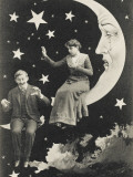 Tearful Paper Moon Sees Lover Fall from Sky Papier Photo
