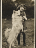 A Young Girl with Her Long Hair Tied in a Ribbon, Plays with Her Samoyed Dog in a Field Photographic Print